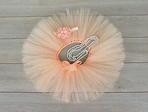 Cake Smash Outfit - First Birthday Tutu Set - Baby Girl - Peach - Tutu - Pearl