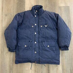 Triple FAT Goose Down Jacket Puffer Parka Coat Blue Men's Size XL