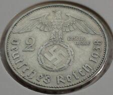 Germany 2 REICHSMARK SILVER MARK HINDENBURG SWASTIKA 1938 B Third Reich
