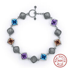 Amethyst & Swiss Blue Topaz & Morganite100% S925 Sterling Silver Bangle Bracelet