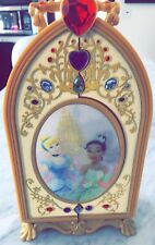 Disney Gold jewelry box princess Belle,cinderella,stones handle carry case.opens