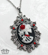 Gothic Lolita LADY SKELETON SKULL CAMEO NECKLACE Pendant Silver Black Red D44