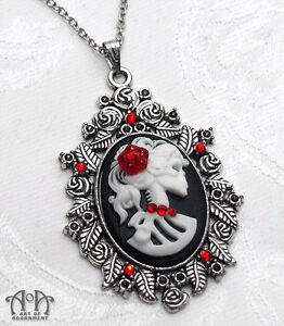 silver tone red czech glass cameo black necklace locket Gothic Skull Bust Amulet metal handmade setting