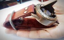 Vintage Nautical Solid Brass Compas~Sun Wrist Watch Marine  W/Leather Strap Gift