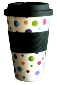 Spots Design Ceramic Travel Mug with Silicone lid and Sleeve…
