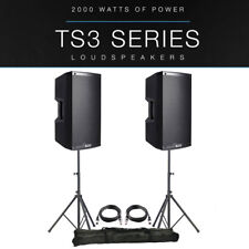 """2x Alto TS315 15"""" 4000W Powered Active PA Speaker Disco Band +XLR Leads +Stands"""