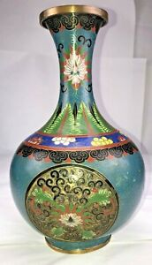 Chinese Cloisonne Vase Openwork As Is