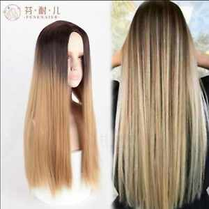 Mix black brown long straight halve hair cosplay wig Party High Quality wigs