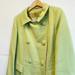 Vintage 60s Aquascutum Double Breasted Women's Coat Lime Green Lined Knee Length