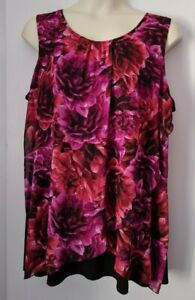 LADIES LONG MULTICOLOURED FLORAL PRINT SLEEVELESS TOP PLUS SIZE 24