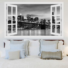 3D Window New York City Skyline View Wall Stickers, Wall Mural, Wall Decals
