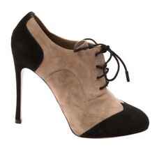 Gianvito Rossi Booties - Black Beige Suede lace up spats heels Shoes 39 6