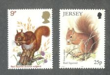 Red Squirrel-(Great Britain & Jersey)2 stamps - mnh-Mammals