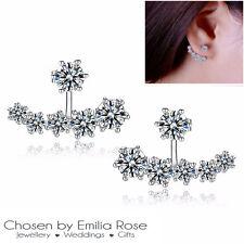 Womens 925 Sterling Silver Cuff Stud Earrings Crystal Rhinestone Flower Row CZ