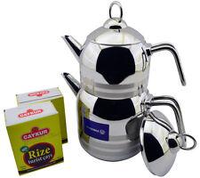 Korkmaz Astra Stainless Steel Double Teapot Turkish Tea Pot Stovetop Kettle,2.9l