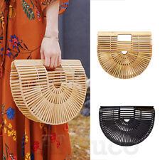 Womens Bamboo Bag Handmade Tote Weave Handbag Lady Holiday Sicircle Shoulder Bag