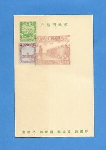 Manchukuo Manchuria (China) Postal Card 2 Fen + 1 Fen w/ Military Scene Cancel