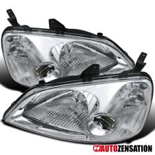 Fit 2001-2003 Honda Civic EM ES 2/4DR JDM Chrome Crystal Headlights