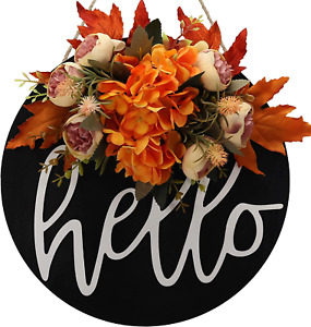 Fall wreaths for front door Decor Welcome sign for front door wreath hello outdo