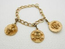 "VTG Gold Tone Love Birds Cupid Comedy Tragedy Mask Charm Bracelet - 7"""