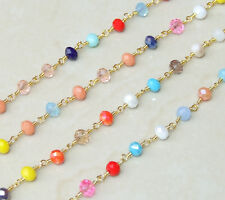 Multicolored Glass Faceted Rondelle Bead Rosary Chain - Gold Plated Wire Wrapped