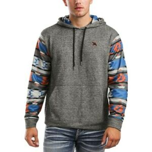 Hooey Men's Roughy West Grey & Aztec Sweatshirt Hoodie RH1157GYAZ