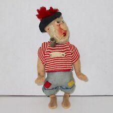 "Cloth sailor pirate doll smoker pipe felt vintage yarn hair nautical 7 1/2"""