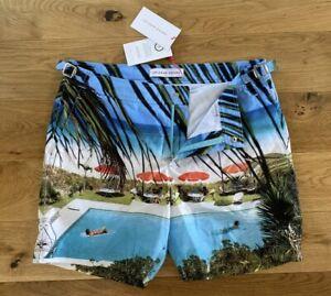 "Orlebar Brown Bulldog Swim Shorts Photographic Mid Length Lazy Rays 32""W New"