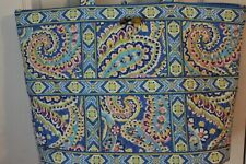 "L Ladies Vera Bradley Tote Bag 18"" x 13"" x 5"" Blue Yellow Green Print Preowned"