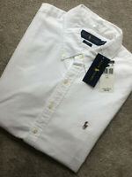 RALPH LAUREN WHITE COTTON SLIM FIT S/S SHIRT TOP USA MODEL - LARGE - NEW & TAGS