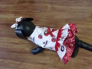 dog cheer dress,Univ.of Georgia Bulldogs, red fringe,Medium*(read size details)