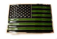 USA FLAG OD Green and Black belt buckle military army navy marines AF US Seller