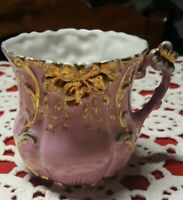 "VINTAGE ♡ BEAUTIFUL PINK WITH GOLD HAND PAINTED CUP MUG ♡ 3"" TALL X 2"" BASE"