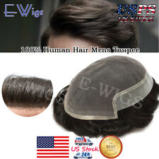 Lace Front Mens Toupee Super Fine Welded Mono Lace Hair System Poly PU Hairpiece