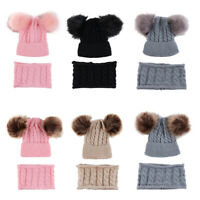 Toddler Girl&Boy Baby Infant Winter Crochet Knit Pom Hat Beanie Cap With Scarf