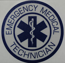 "Emergency Medical Tech, EMS Decal, Star of Life, Reflective 3.75"" Blue  #EM55"