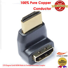 Gold Plated HDMI Right Angle Male to Female Adapter, 270 Degree