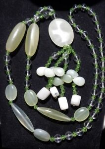 """Vintage 36"""" LONG necklace, JADE stones and glass beaded, Statement, Gypsy, Boho"""