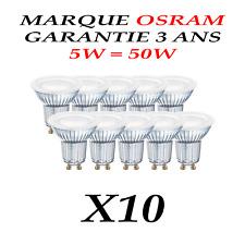 Spot LED  GU10 Ampoule lumière 5W =50W Halogene Blanc Chaud 120°garantie 3 ans