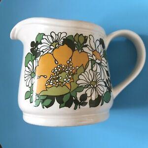 Large Vintage Retro Sadler  custard / cream Jug Yellow poppy 1.5 Pints 12cm ht
