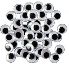 50 X 10mm WIBBLY  WOBBLY GOOGLY EYES. CRAFTS, STICKERS SELF ADHESIVE, UK SELLER