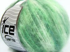 Lot of 8 Skeins Ice Yarns MOHAIR COLOR LIGHT (15% Mohair 10% Wool) Yarn Green...