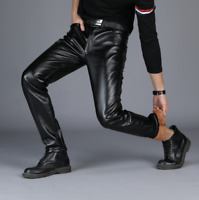 Men Winter Thick PU Leather Warm Fur Lined Long Pants Back Motorcycle Trousers