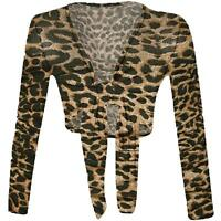 Womens Ladies Tie Front Long Sleeve Printed Cropped Bolero Shrug Top Cardigan