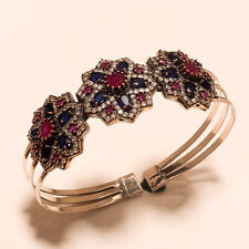 Natural Ceylon Sapphire, Burmese Ruby Gemstone Sterling Silver Handcuff Jewelry