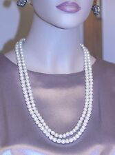Vintage JEWELRY 2 STRAND PEARL NECKLACE w/ornate clasp SEED PEARLS RHINESTONES