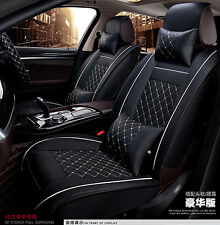 5-Seats Car Seat Cover Full Front+Rear Cushion Size L Deluxe PU leather W/Pillow