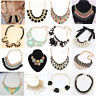 Women Charm Jewelry Pendant Chain Crystal Choker Chunky Statement bib Necklace