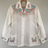 Vintage Mexican Embroidered Peasant Blouse Top Small Medium White Long Sleeve