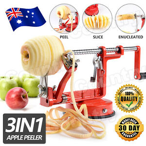 AU 3 in 1 Apple Peeler Red Kitchen Tool Slinky Machine Fruit Cutter Slicer Corer